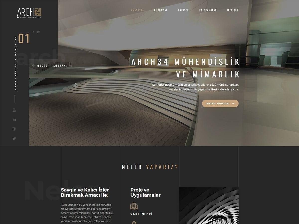 Arch 34 Mimarlık Web Sitesi